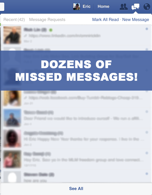 Dozens of missed messages due to Facebook filter